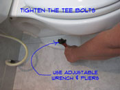 If your toilet is leaking at the base, you may need to tighten the T bolts. Caution needs to be excersised as you do not want the tiolet bolted tight to the floor.