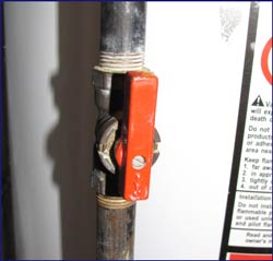 You need to shut off the inline valve for the gas to ensure your safety when working on your gas hot water heater.
